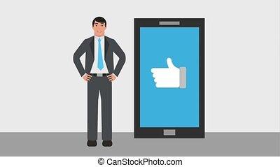 homme affaires, smartphone, aimer, main