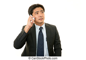 homme affaires, smartphone, asiatique