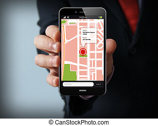 homme affaires, smartphone, gps