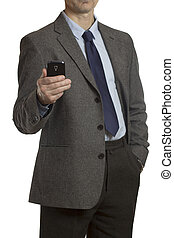 homme affaires, smartphone