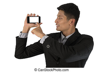 homme affaires, smartphone.