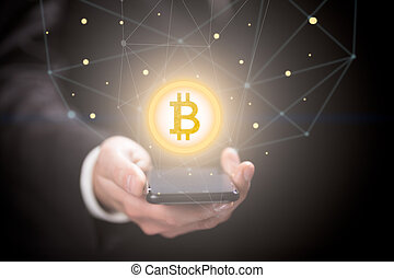 homme affaires, smartphone, signe, bitcoin