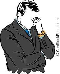 homme affaires, souci, geste, illustration