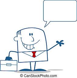 homme affaires, sourire, caractère