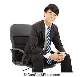 homme affaires, sourire, chaise, jeune, séance