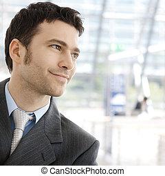 homme affaires, sourire heureux