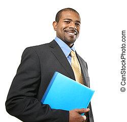 homme affaires, sourire