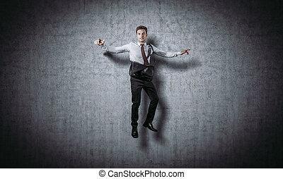 homme affaires, sourire, sauter