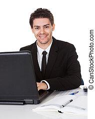 homme affaires, sourire, sien, assis, bureau