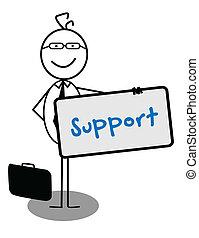 homme affaires, soutien, bannière