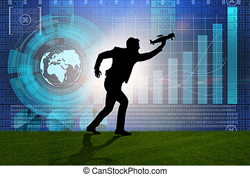 homme affaires, start-up, concept, business
