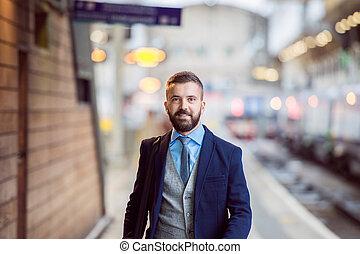 homme affaires, station