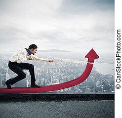 homme affaires, statistiques, changements