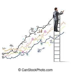 homme affaires, statistiques, dessine