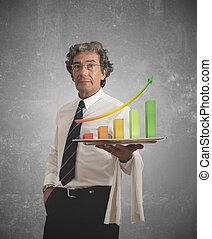 homme affaires, statistiques, positif
