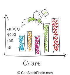 homme affaires, statistiques, super, diagramme
