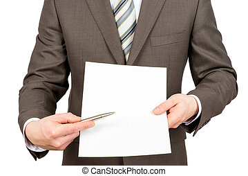 homme affaires, stylo, papier, pointage, vide