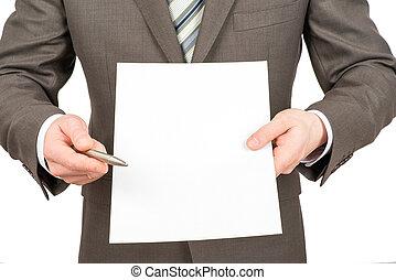 homme affaires, stylo, papier, vide, pointage