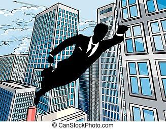 homme affaires, superhero