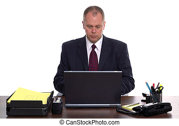 homme affaires, sur, a, ordinateur portable