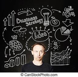 homme affaires, sur, business, flèches, ampoule, finance, icône, et, marques, arrière-plan., idée, business, planification, et, stratégie, concept