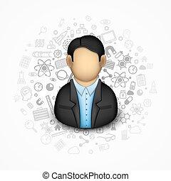 homme affaires, sur, les, fond, de, beaucoup, icônes