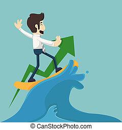 homme affaires, surfer, vague