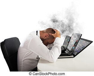 homme affaires surmené, ordinateurs, porté
