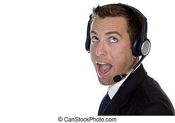 homme affaires, surpris, headphon