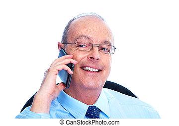 homme affaires, téléphone., appeler