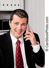 homme affaires, téléphone, bureau