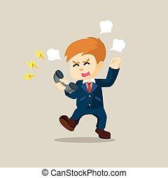 homme affaires, téléphone, combat