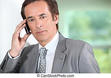 homme affaires, téléphone.