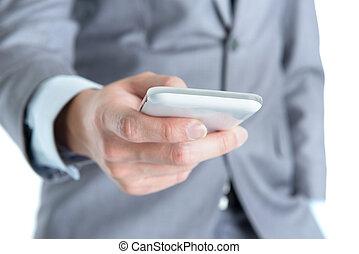 homme affaires, téléphone., intelligent, utilisation