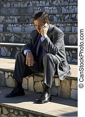 homme affaires, téléphone