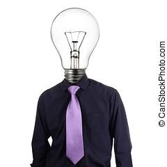 homme affaires, tête, créatif, ampoule
