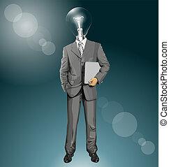 homme affaires, tête, vecteur, ordinateur portable, lampe