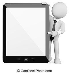 homme affaires, -, tablette, 3d