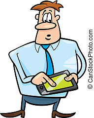homme affaires, tablette