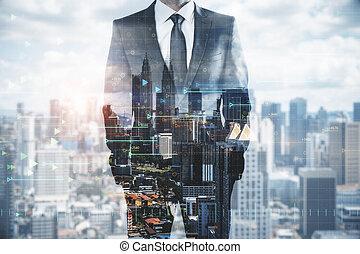 homme affaires, technologie, ville