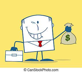 homme affaires, tenant argent