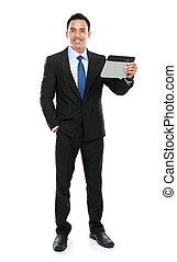homme affaires, tenir tablette, pc