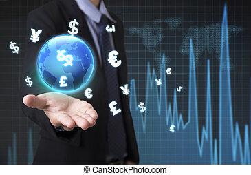 homme affaires, tenue, global, analyse financière, graphique, à, signes, argent., concept, échange, currency.