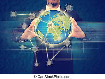 homme affaires, tenue, les, social, network.internet, concept
