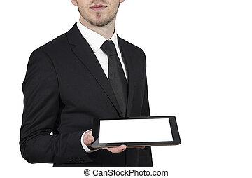 homme affaires, tenue, pc tablette