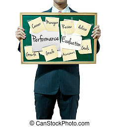 homme affaires, tenue, planche, sur, les, fond, évaluation...