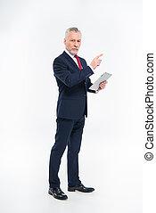 homme affaires, tenue, tablette, numérique
