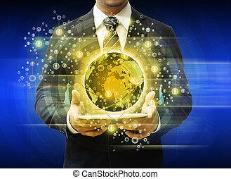 homme affaires, tenue, tablette, technologie, concept affaires