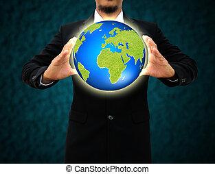 homme affaires, tenue, terre verte, dans, mains, .environmental, concept