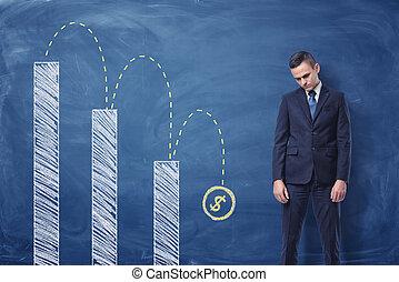homme affaires tient, désordre, et, colonne, diagramme, à, dollar, signe, tomber